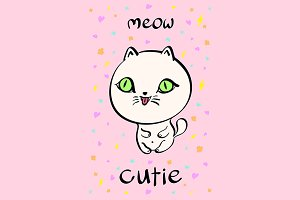 Cute cat illustration vector