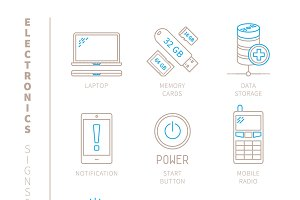 Electronics iconset lineart