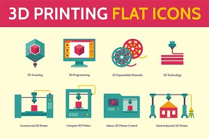 3D Printing Icons in Flat Style