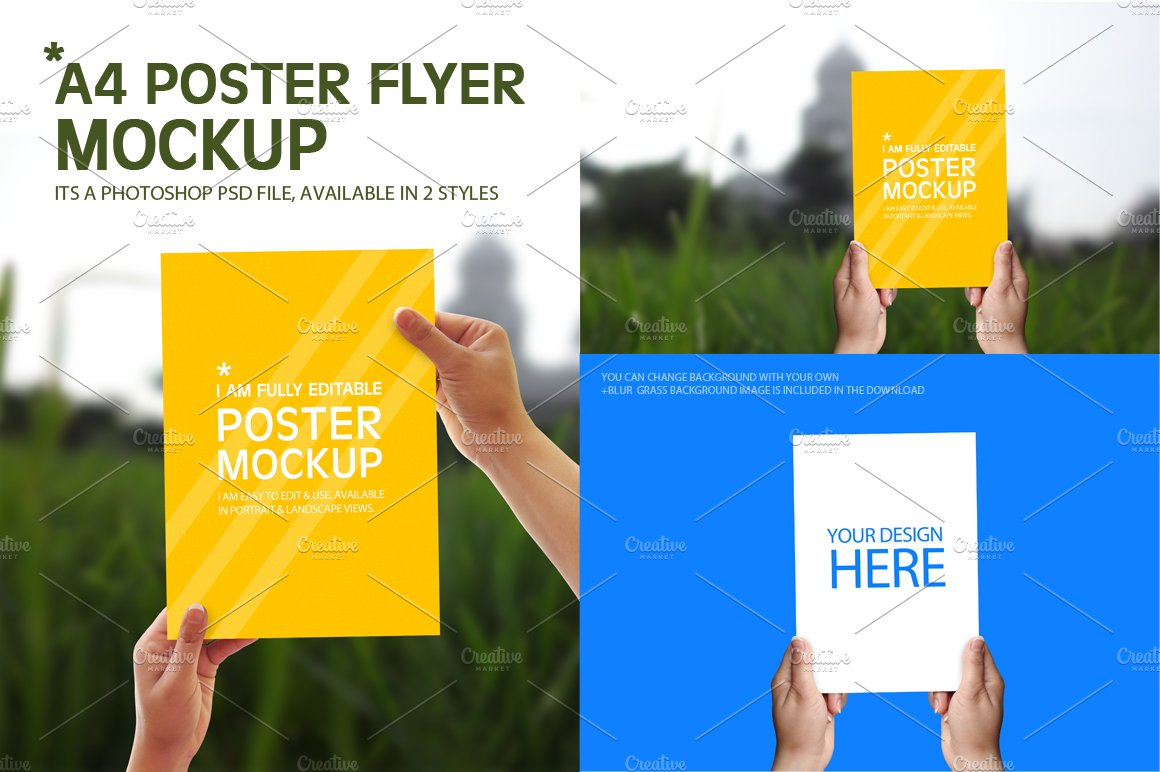 a4 poster flyer mockups product mockups creative market