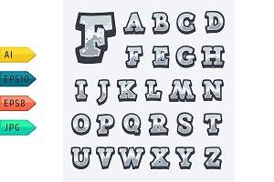 White stone game alphabet.