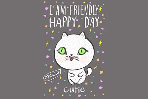 happy day cutie meow vector