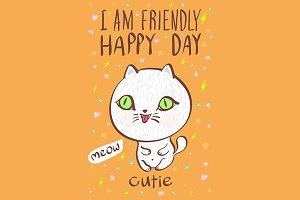 i am friendly happy day cutie vector