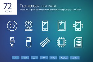 72 Technology Line Icons
