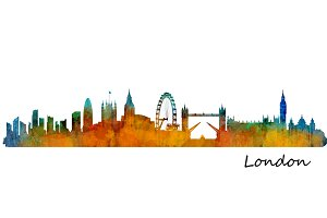 London City Watercolor Skyline