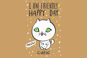 happy day cutie meow cat vector