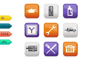 Fuel and transport colored icons
