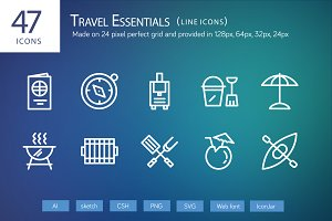47 Travel Essentials Line Icons
