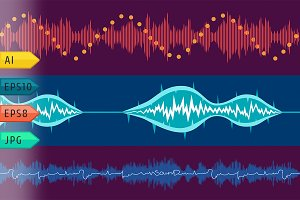 Vector music volume abstract set