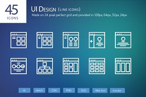 45 UI Design Line Icons