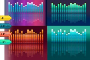 Set of vector music volume waves