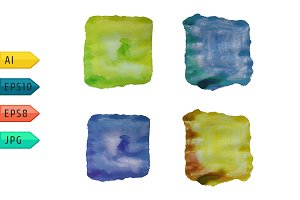 Set of abstract watercolor icons.