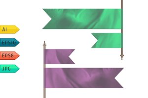 Pink and green silk flags.