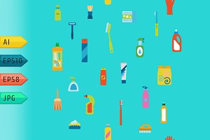 Cleaning products icons.