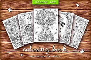 Set 5 girl doodle, coloring book
