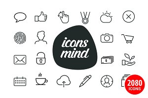 2,080 Icons for iOS, Android & Apps