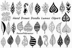 Hand Drawn Doodle Leaves Clipart
