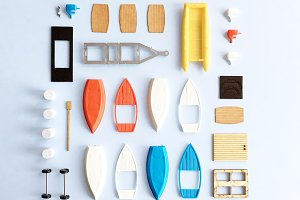 Miniature Row Boat Pieces Flat Lay