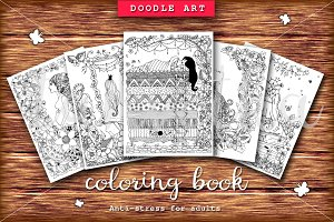 Set5 girl doodlart  coloring book