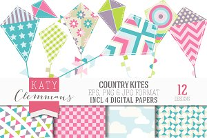 COUNTRY KITES clip art & papers