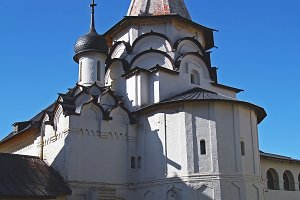 White stone church.