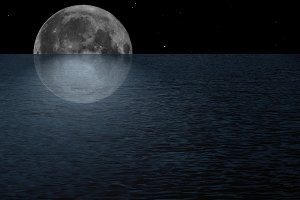 Full moon at sea
