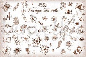 Doodle art vintage elements set