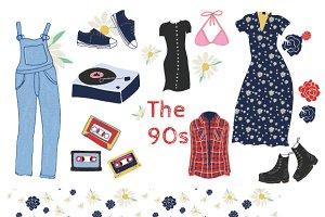 90s grunge clipart set
