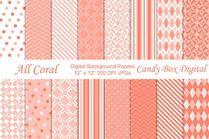 All Coral Digital Background Papers
