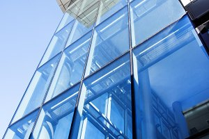 Modern building blue glass wall