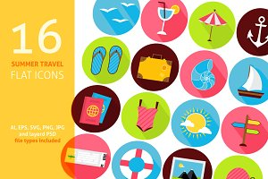 Summer Travel Vector Flat Icons