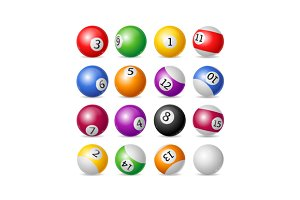 Colorful Billiard Balls Set. Vector