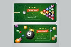 Billiards Baners Set. Vector
