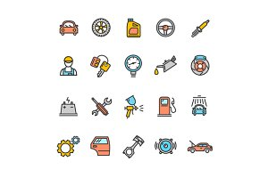 Car Service Icon Color Set. Vector