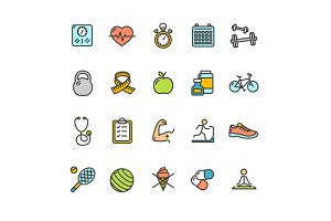Health Fitness Icon Color Set.