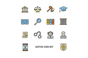 Justice Color Icon Set. Vector
