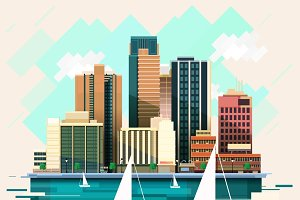 Modern Flat City Illustration