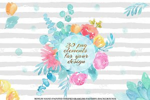30 Watercolor flower cliparts
