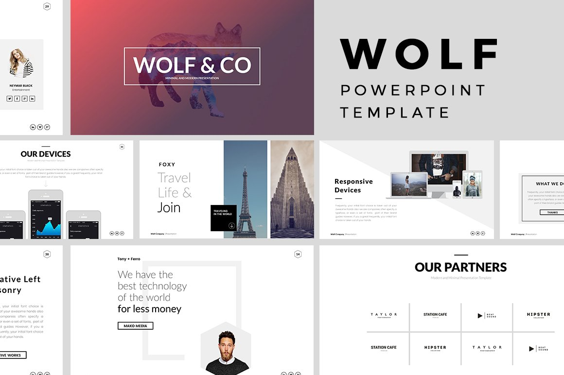 wolf minimal powerpoint template presentation templates creative market. Black Bedroom Furniture Sets. Home Design Ideas
