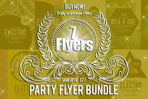 7 Electro Party Flyer Bundle