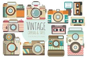 Vintage Cameras Vector Clipart Set