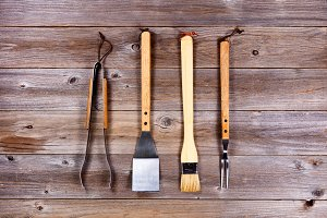 Utensils for BBQ Cooking on Wood