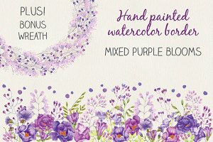 Watercolor border: purple blooms