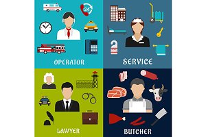 Service professions icons