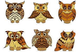 Yellow cartoon horned owls birds