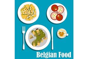 Belgian cuisine flat icons
