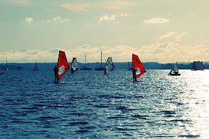 Windsurfers in the bay