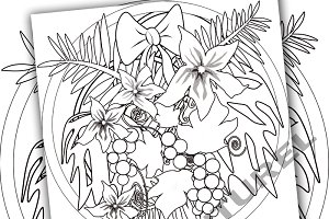 Printable coloring flowers.