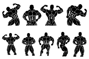 bodybuilding icons, vector
