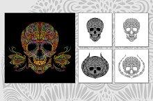 Set of decorative vector skulls